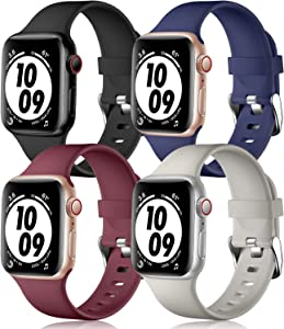 Getino Compatible with Apple Watch Band 38mm 40mm 42mm 44mm, Soft Durable Replacement Accessories Bands for iWatch Series SE Series 6 5 4 3 2 1, Black/Navy/Wine/Gray, 42/44mm S/M