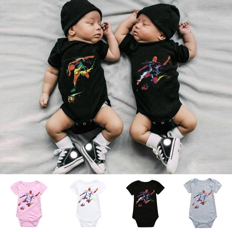 Efaster Newborn Baby Girls Boys Short Sleeve Soccer Football Print Romper