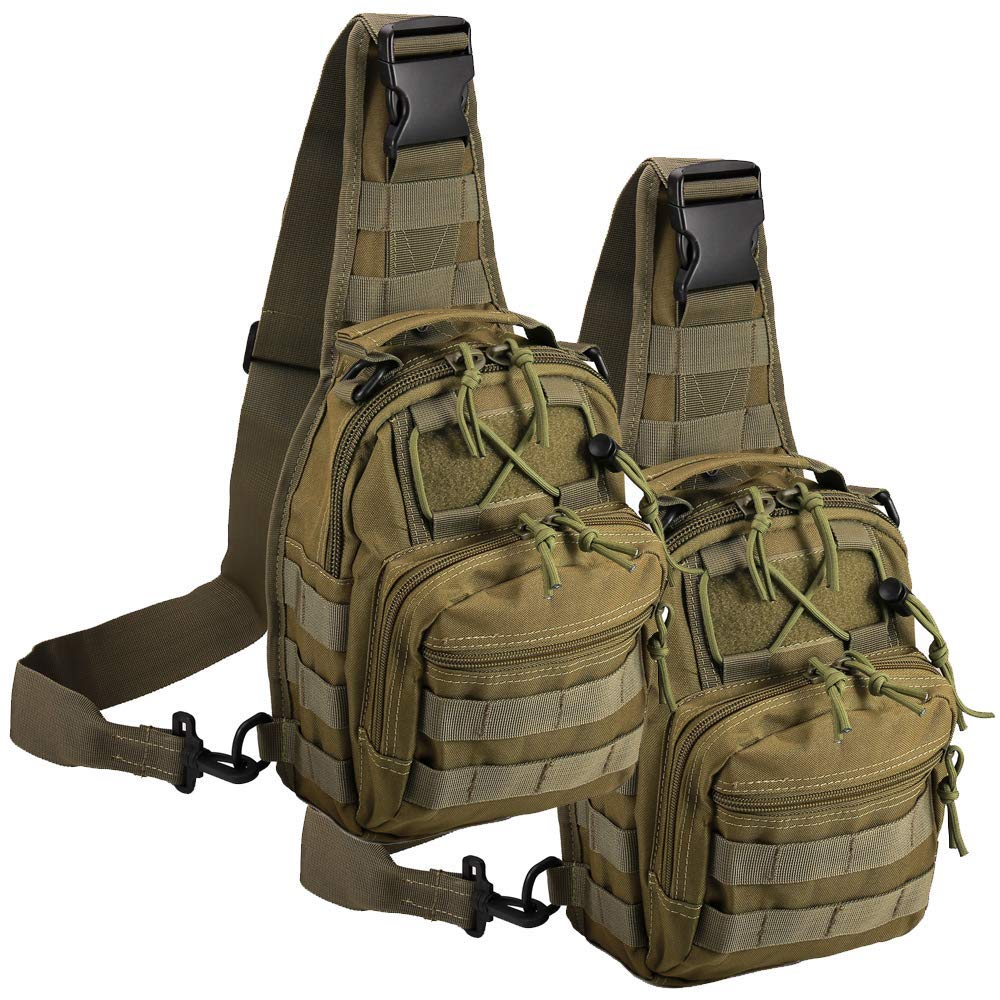 Tactical Green) Shoulder 2 Bag,1000D Outdoor Military Camping, Molle Sling Backpack Sport Chest Pack Daypack Bags for Camping, Hiking, Trekking, Rover Sling (Tactical, 2 Pack Green) [並行輸入品] B07R3Y87B7, 環境対応フィルムプラザ:6b7c4fc7 --- anime-portal.club