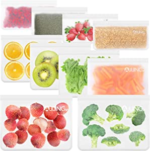 10 Pack Reusable Food Storage Freezer Bags, 4 Reusable Sandwich Bags + 4 Reusable Snack Bags + 2 Reusable Ziplock Bags,Extra Thick Leakproof Silicone Free Bags For Lunch Travel Make-Up