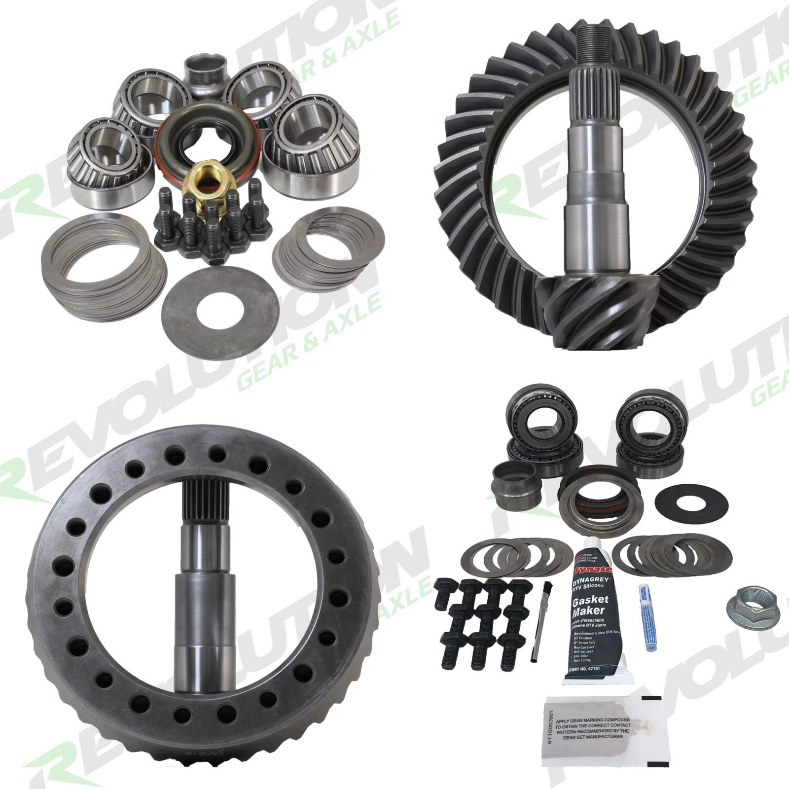 Revolution Gear & Axle - Jeep TJ & 96-04 Grand Cherokee (D35/D30) 4.56 gear package front & rear with master overhaul kits (Does not include carrier cases)