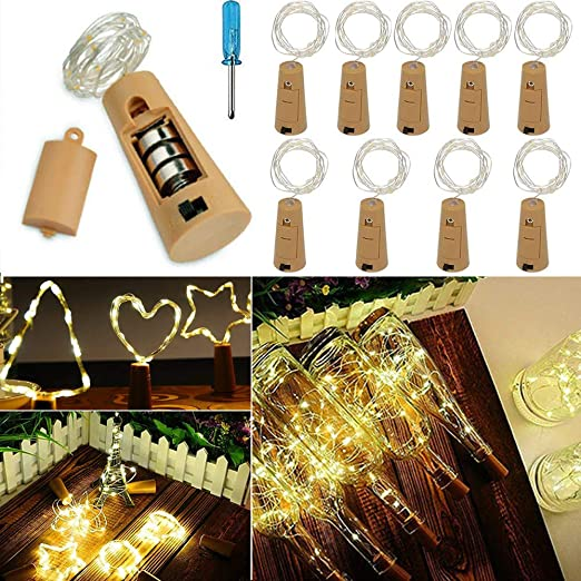 VIPMOON 10pcs llevó las luces de corcho de la botella, 2m 20LEDS Hada botella de vino Cadena de luz Mini alambre de cobre, luces estrelladas con pilas para ...