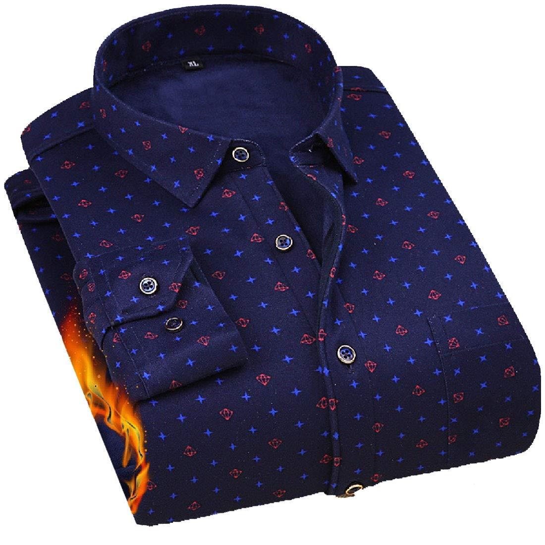 YUNY Men Leisure Warm Long Sleeve Button Turn-Down Collar Work Shirt AS13 2XL