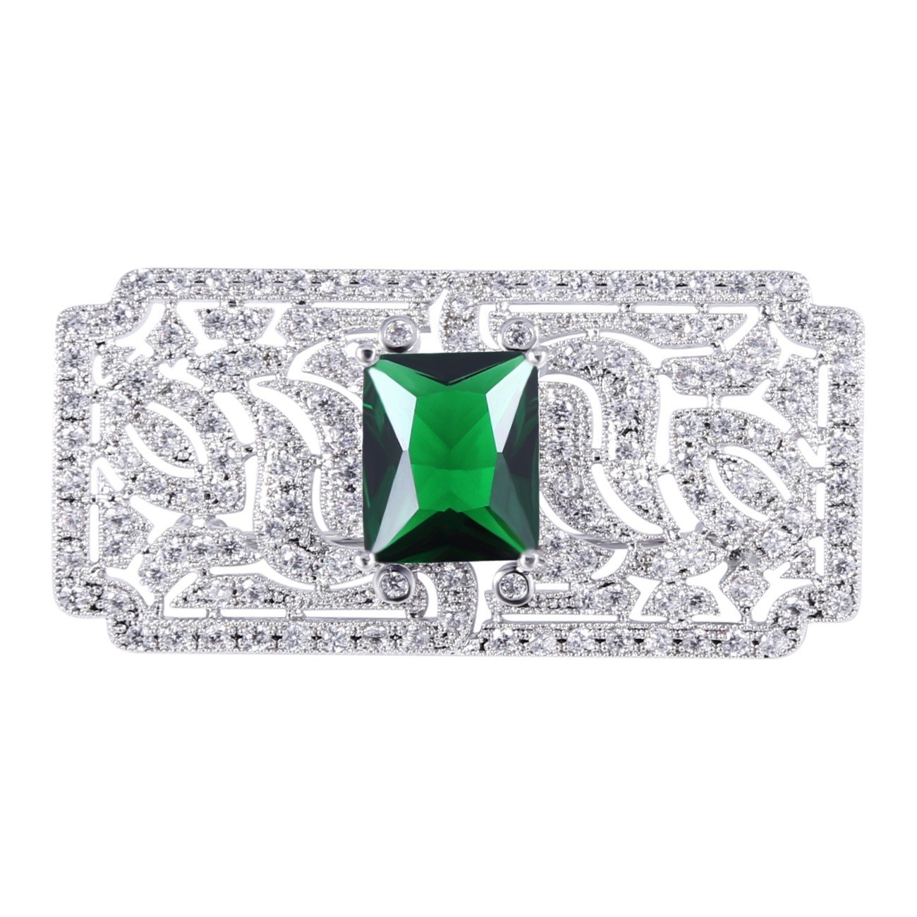 GULICX Mother's Gift Vintage Style Art Deco Zircon Wedding Brooch Pin Green Silver Plated Base Bouquet