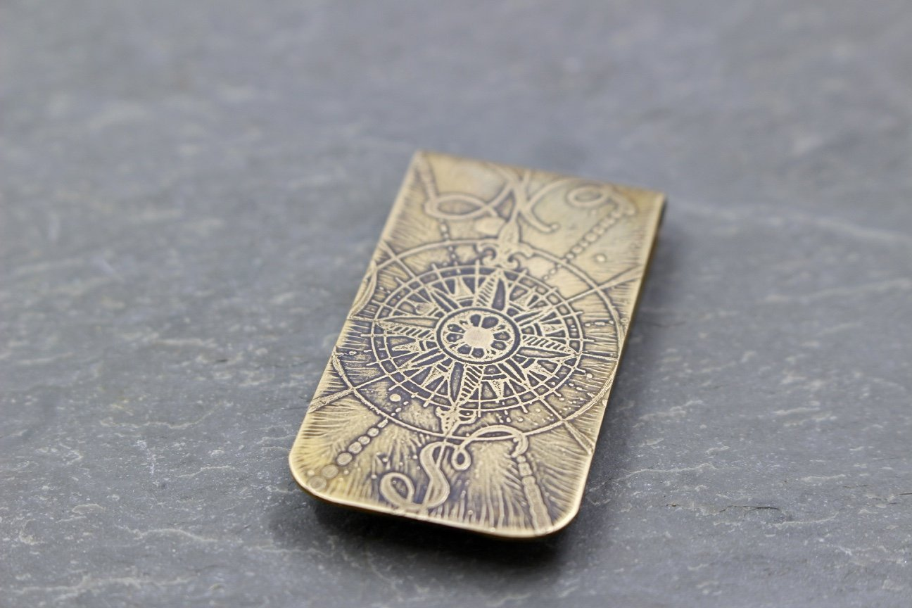 Compass North & South Money Clip