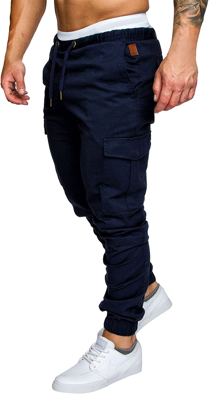 FGFD Pantalones de Hombre Jogger Deportivos Pantalón Cargo Casuales Chino de Algodón Pants Sueltos Ocasionales