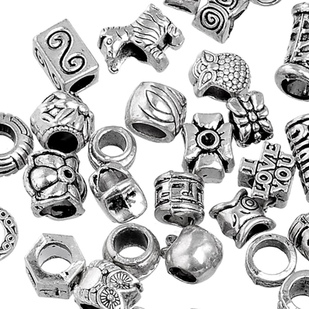 RUBYCA 50Pcs Tibetan Silver Color Metal Charm Beads Assortment Mix Designs for Jewelry Making