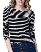Tulucky Women's Casual Long sleeve Shirts Stripe Tees Round Neck Tank Tops