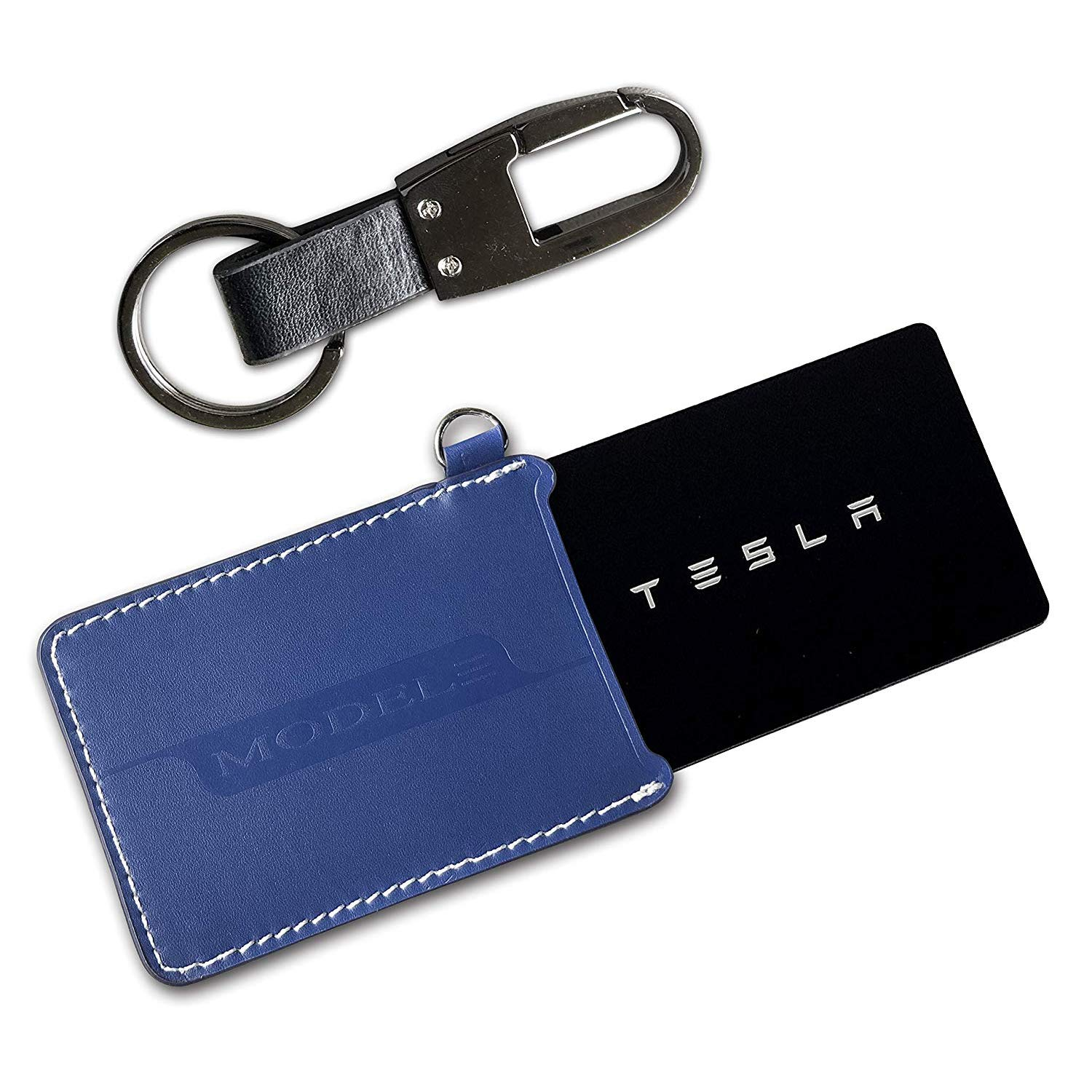 Blue Car Key Card Holder Protector Cover Key Fob Case Chain Key Ring Set for Tesla Model 3