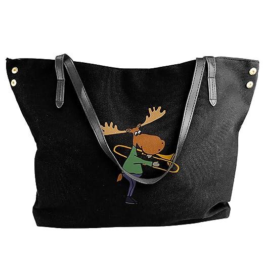 Women s Funny Funky Moose Playing Trombone Canvas Shoulder Bag Handbags  Tote Bag Casual Shopping Bag 96f6ad9ea9