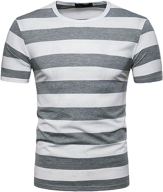 YEBIRAL Camiseta Rayas Negras Y Blancas, Camisetas Deporte Hombre Casual Slim Fit Verano con Manga Corta O-Cuello Originales Tops T-Shirt: Amazon.es: Ropa y accesorios