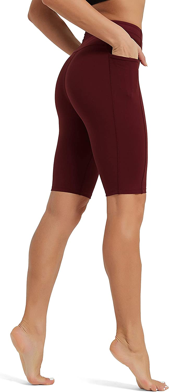 """Rataves Women's 10"""" Workout Yoga Shorts with Pockets High Waisted Athletic Shorts"""