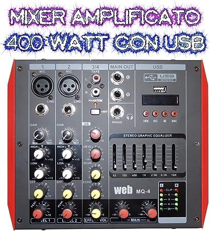 Mezclador amplificador activo Bluetooth compacto 400 W DJ KARAOKE ...