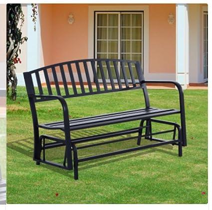 50u0026quot; Black Steel Glider Rocker | Patio Porch Rocking Chair | Outdoor  Gliding Chairs