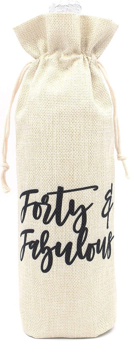 Personalised Gift Bag Drawstring Birthday 40th 50th 60th 70th Wine Bag Present