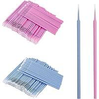 200 stuks wegwerp-microborstels, wimperborstel voor wimperverlenging (blauw groot + roze middel)
