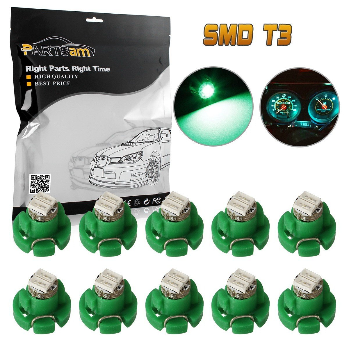 Partsam 10 x Green T3 Neo Wedge 2 SMD LED For A/C Heater Climate Control Instrument Panel