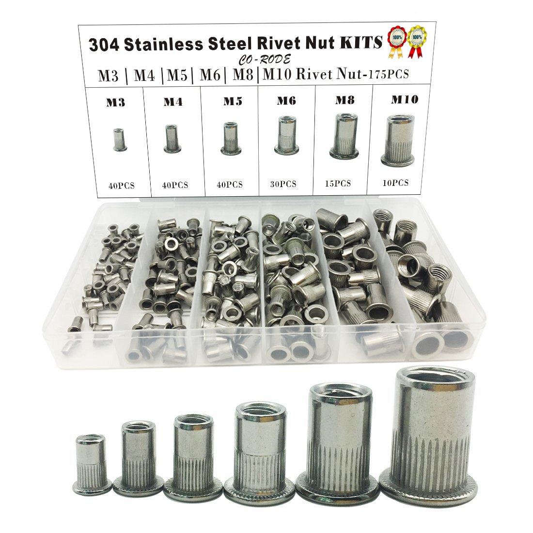 175PCS 304 Stainless Steel Rivet Nut Threaded Rivetnut Insert Nutsert(M3 M4 M5 M6 M8 M10) by CO RODE