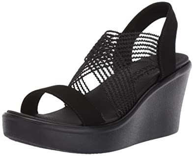 7902ff0f792f Skechers Women s Rumble UP-Cloud Chaser-High Wedge Cross Band Slide Sandal