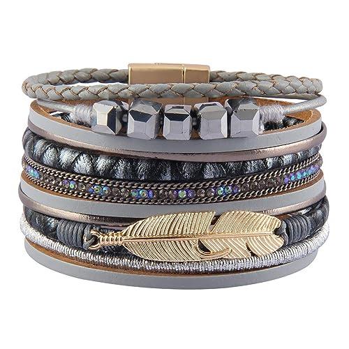 a63808d41cc Jenia Womens Leather Cuff Bracelets Feather Wrap Bracelet Gorgeous Crystal Bangle  Handmade Jewelry Bohemian Gift for