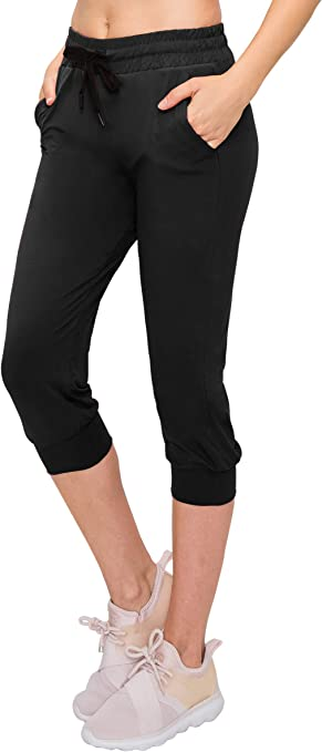 Womens Drawstring Capri Joggers Sweatpants Lightweight Skinny Fit Premium Soft Stretch Pockets Pants