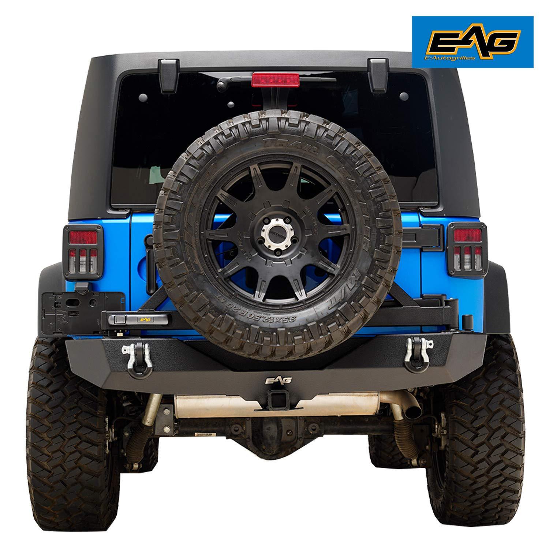 EAG Rear Bumper W//Secure Lock Tire Carrier for 07-18 Jeep Wrangler JK
