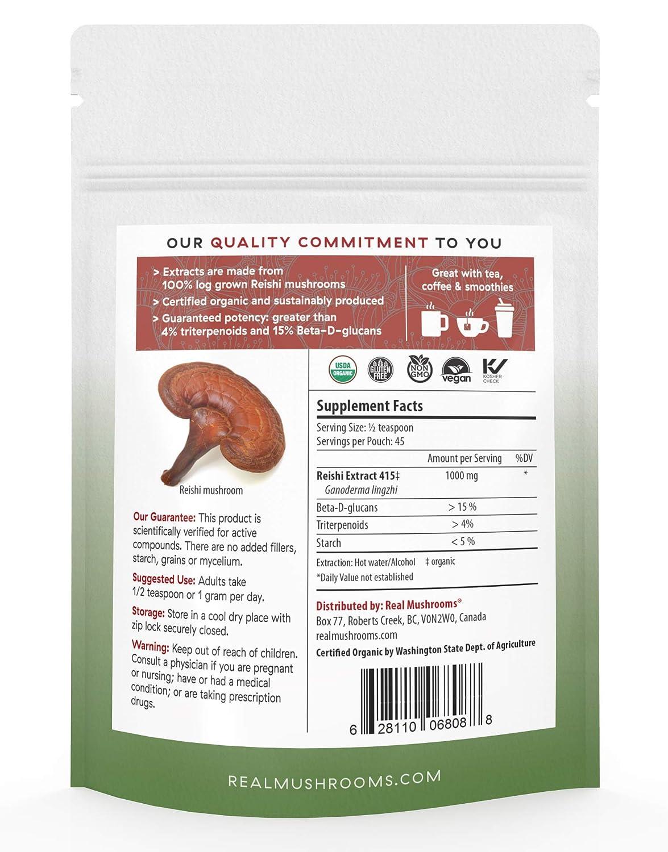 Reishi Mushroom Extract Powder by Real Mushrooms - Certified Organic -  Ganoderma