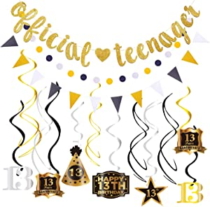 Official Teenagers Banner Bunting 13th Birthday Decorations Kit Shiny Glitter Hanging Swirls Garland 13th Birthday Party Decorations Decor Thirteen 13 Years Old Boys Girls Kids Birthday Party Supplies