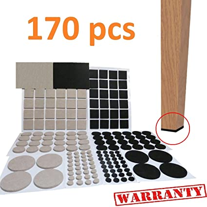 Merveilleux Self Adhesive Furniture Felt Pads LARGE PACK 170 Pcs Chair Leg Floor  Protectors Black Beige