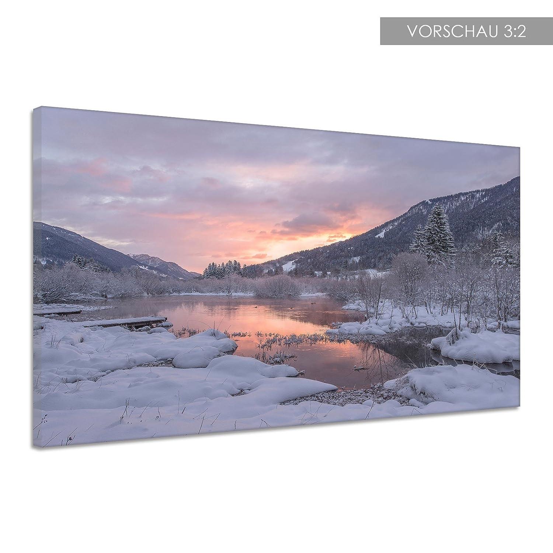 Leinwand Fluss Wasser Schnee Schnee Schnee Eis Winter Kälte Himmel Poster Druck Bild qq0073 180x120 002c88