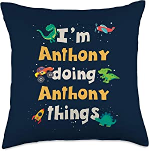 Personalized Anthony First Name Apparel & Gifts Cool Anthony Personalized First Name Boys Throw Pillow, 18x18, Multicolor