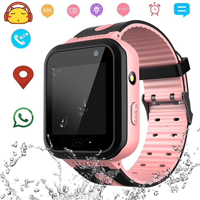 Waterproof Smart Watch Phone for Kids - IP67 Waterproof GPS Tracker with SOS Voice Chat Camera Flashlight Alarm Clock Digital Wrist Watch Smartwatch ...