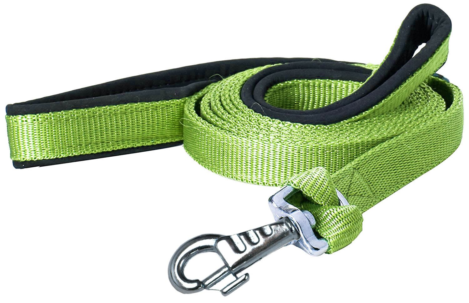 Green 3 4\ Green 3 4\ cuteNfuzzy Padded Double Handle Leash with Warranted Snap Design, Green, 3 4 by 6'