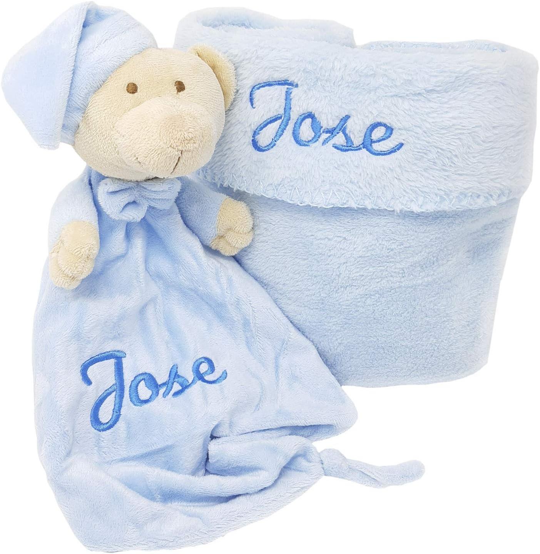 Set de Dou Dou y Mantita para Bebé personalizado con el nombre (Azul)