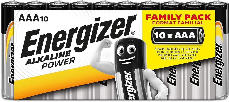 Energizer - Pack de 10 Pilas Alcalinas Alkaline Power Lr03 Aaa, Family Pack, Negro, Verde, Rojo, Amarillo
