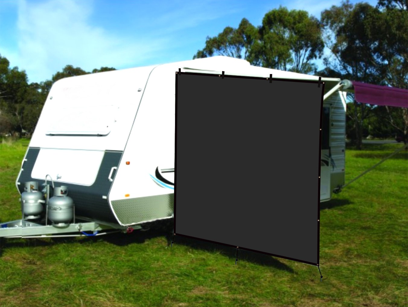CAMWINGS RV Awning Privacy Screen Shade Panel Kit Side Sunblock Shade Drop 8 x 8ft, Black
