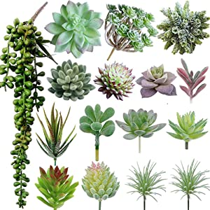 Maxzone 16 Pack Artificial Succulent Create Realistic Succulent Flocking Plants Unpotted Fake Succulents Plant for Lotus Landscape Decorative Garden Arrangement Decor