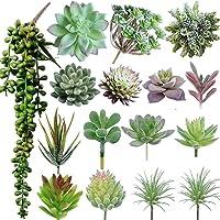 Maxzone 16 Pack Artificial Succulent Create Realistic Succulent Flocking Plants...
