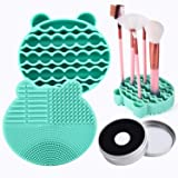 Silicon Makeup Brush Cleaning Mat with Brush Drying Holder Brush Cleaner Mat Portable Bear Shaped Cosmetic Brush Cleaner Pad+