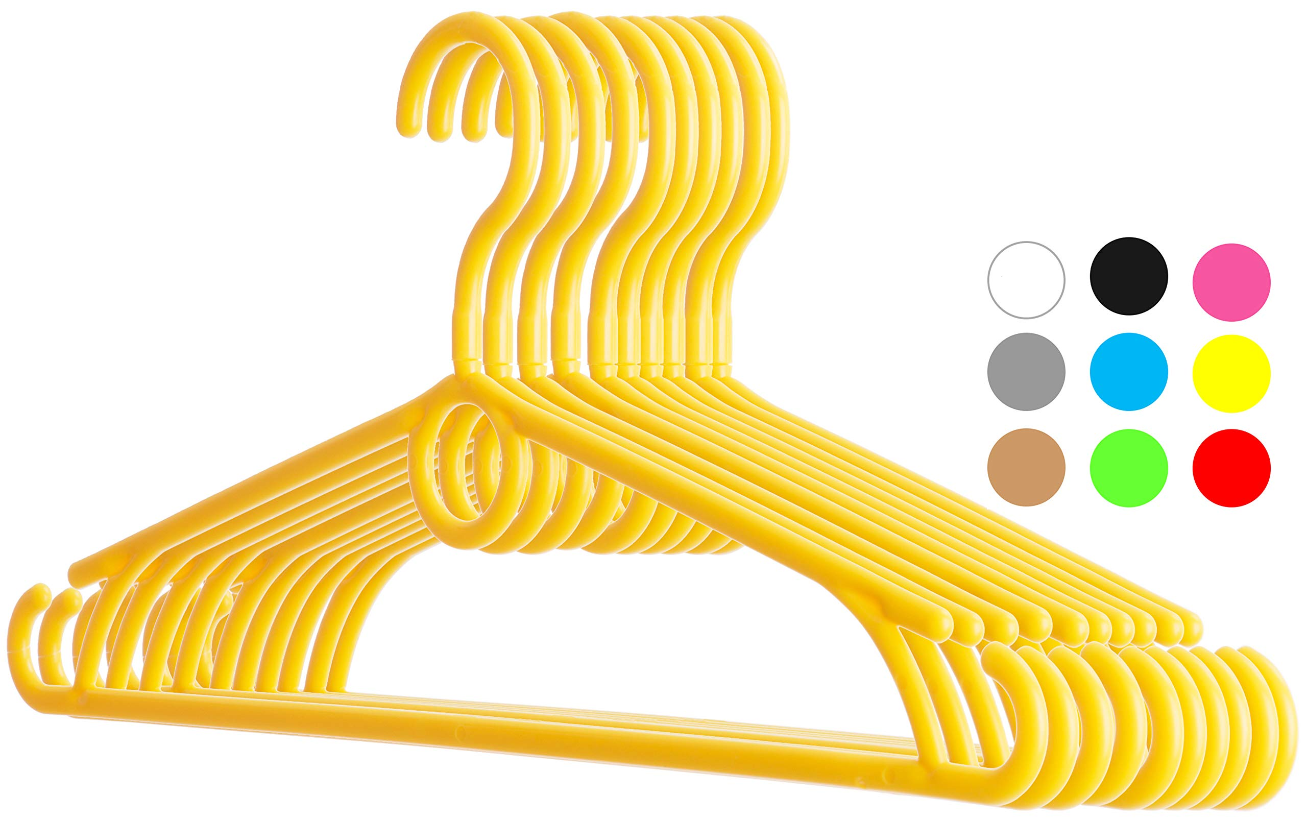 Dream-home Childrens Plastic Clothes Hangers - 12.6'' Wide - 360° Swivel Hook - Strong & Durable - Side Hooks for Spaghettis & Baby Dresses, Loop for Cascading or Kids Accessories - Set of 20 - Yellow