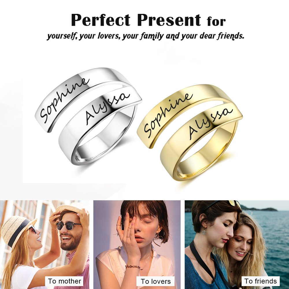 Love Jewelry Personalized Spiral Twist Ring Engraved Names BFF Personalized Gift Mother-Daughter Promise Ring Her (Gold) by Love Jewelry (Image #2)