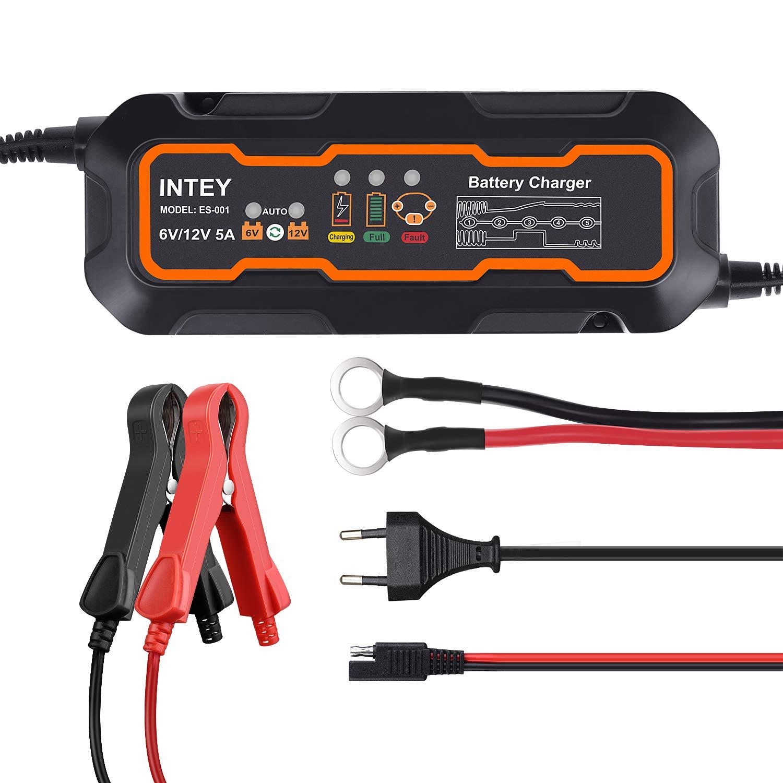 INTEY Cargador de baterías Coche, Cargador de batería Moto, 5A - 6/12V, 5 Etapas - Discernimiento, 3 Cargas de segmentación y Mantenmiento