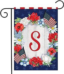 Briarwood Lane Patriotic Monogram Letter S Garden Flag Floral Wreath 12.5