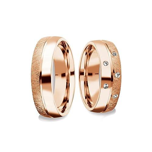 Amistad Anillos Partner amoonic con Swarovski Circonita Luxus Funda & anillo grabado * * rojo oro