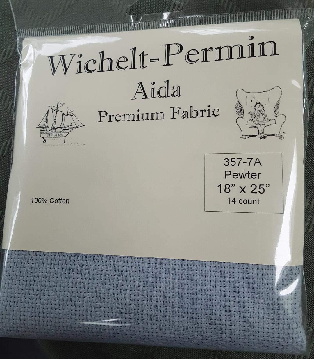 Wichelt Permin Premium AIDA Cross Stitch Fabric 14 Count Pewter 18 x 25