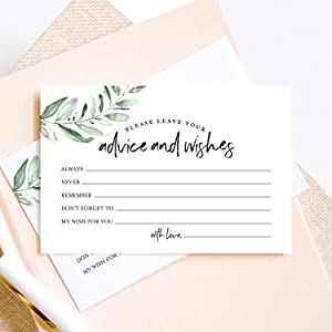 Bliss Collections Advice and Wishes Cards - 50 Heavyweight, Uncoated 4x6 Cards with Mad Libs Rustic Greenery Theme for Weddings, Wedding Receptions, Bridal Showers - Essential Wedding Decorations