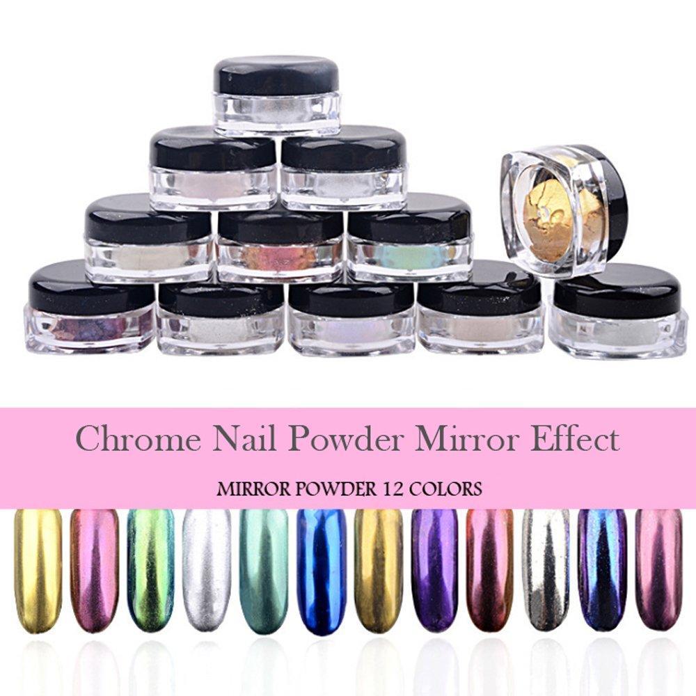 PrettyDiva 5g Silver Chrome Nail Powder, Rose Gold Effect Mirror powder Manicure Pigments Pretty Diva