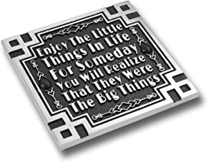 The Metal Foundry Art Deco Décor Wall Art Metal Plaque with Inspirational Quote 'Enjoy The Little Things'. Home Accessory Gift for Parents Or Friends for Wedding, Anniversary, Birthday Or Christmas