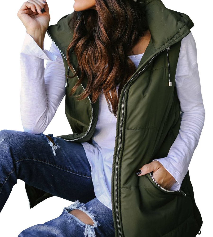 EastLife Womens Down Vest Packable Lightweight Quilted Zip up Outerwear Puffer Vests with Hood,Green,X-Large
