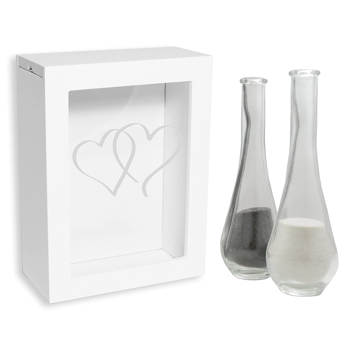 Cathy's Concepts Heart Design Sand Ceremony Shadow Box, White Cathys Concepts HD-PS3917W